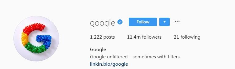 google Instagram profile verified
